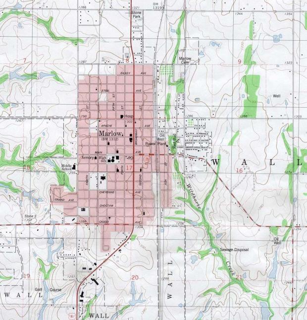 Mapa Topográfico de la Ciudad de Marlow, Oklahoma, Estados Unidos