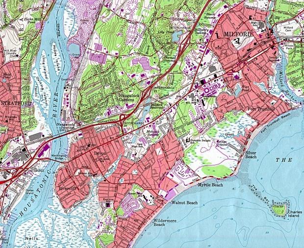 Mapa Topográfico de la Ciudad de Milford, Connecticut, Estados Unidos