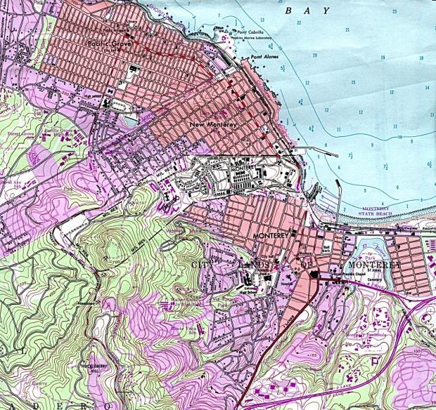 Mapa Topográfico de la Ciudad de Monterey, California, Estados Unidos