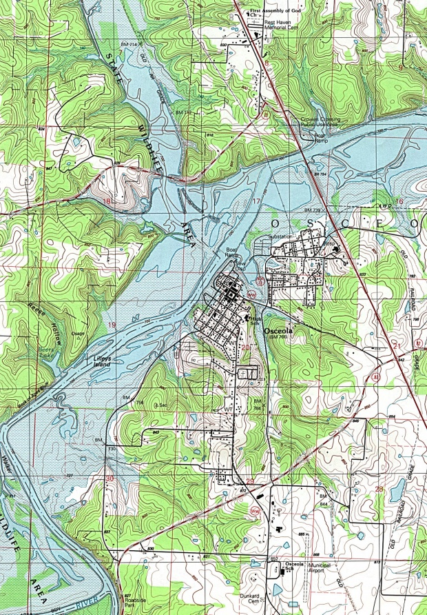 Mapa Topográfico de la Ciudad de Osceola, Missouri, Estados Unidos