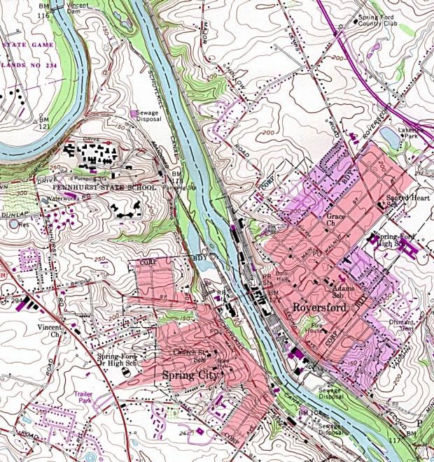 Mapa Topográfico de la Ciudad de Spring City y Royersford, Pensilvania, Estados Unidos