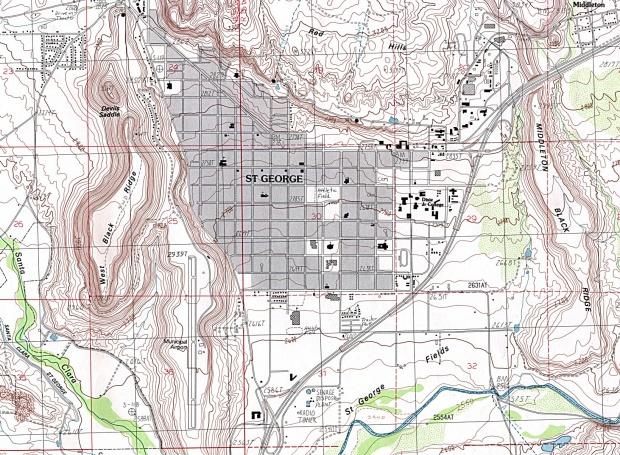 Mapa Topográfico de la Ciudad de St. George, Utah, Estados Unidos