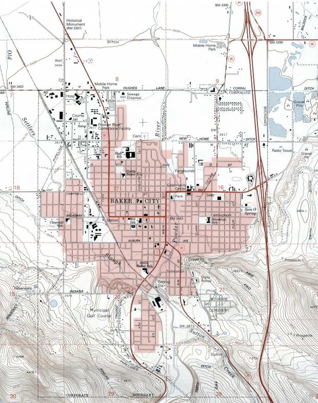 Mapa Topográfico de la Ciudad deBaker City, Oregón, Estados Unidos
