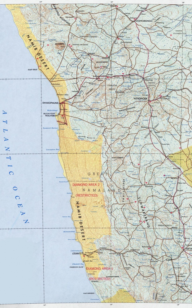 Mapa Topográfico de la Costa Central de Namibia