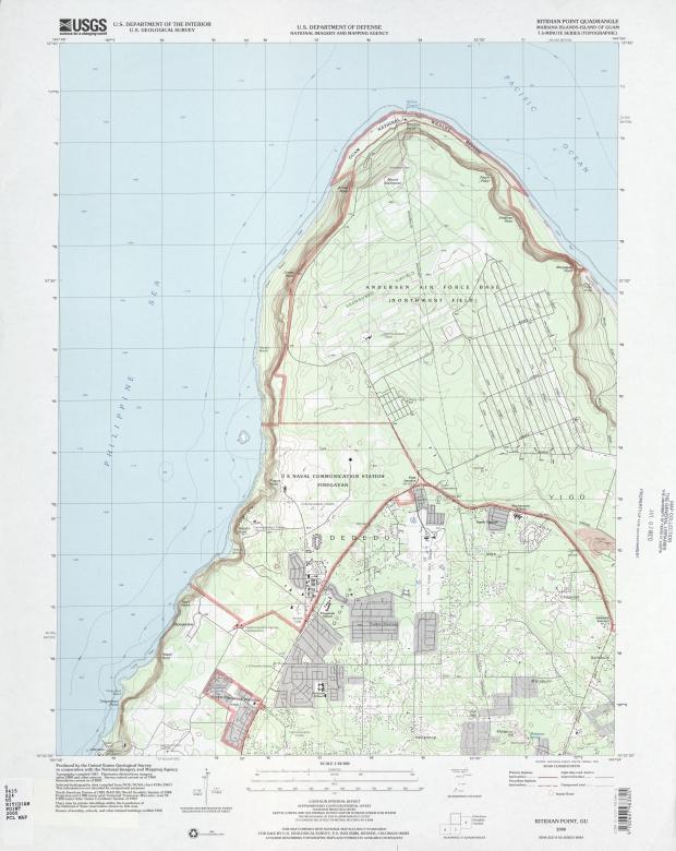 Mapa Topográfico de la Región Norte de la Base de la Fuerza Aérea Andersen
