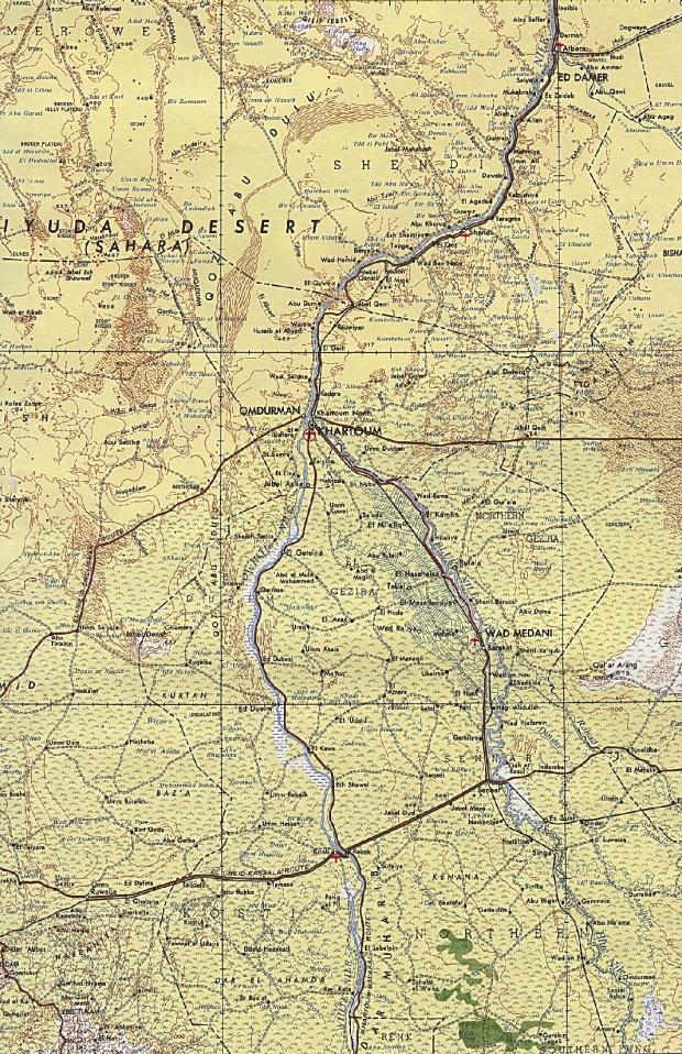 Mapa Topográfico de la Región de Jartum, Sudán 1968