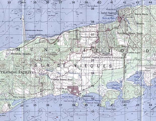 Mapa Topográfico de la Surestección Central de la Isla De Vieques, Puerto Rico