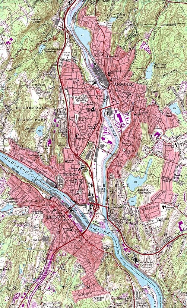 Mapa Topográfico de las Ciudades de Ansonia, Derby, Shelton, Connecticut, Estados Unidos