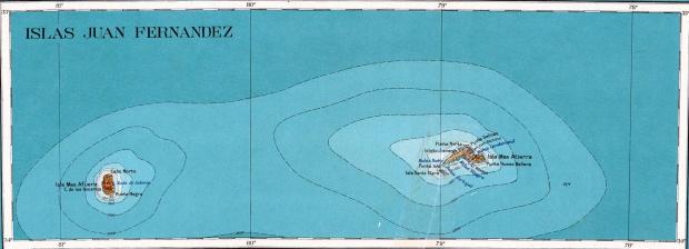 Mapa Topográfico de las Islas Juan Fernandez 1927