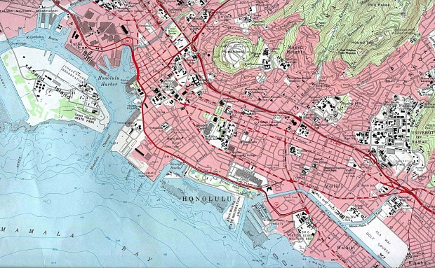Mapa Topográfico del Centro de Honolulu, Hawái, Estados Unidos