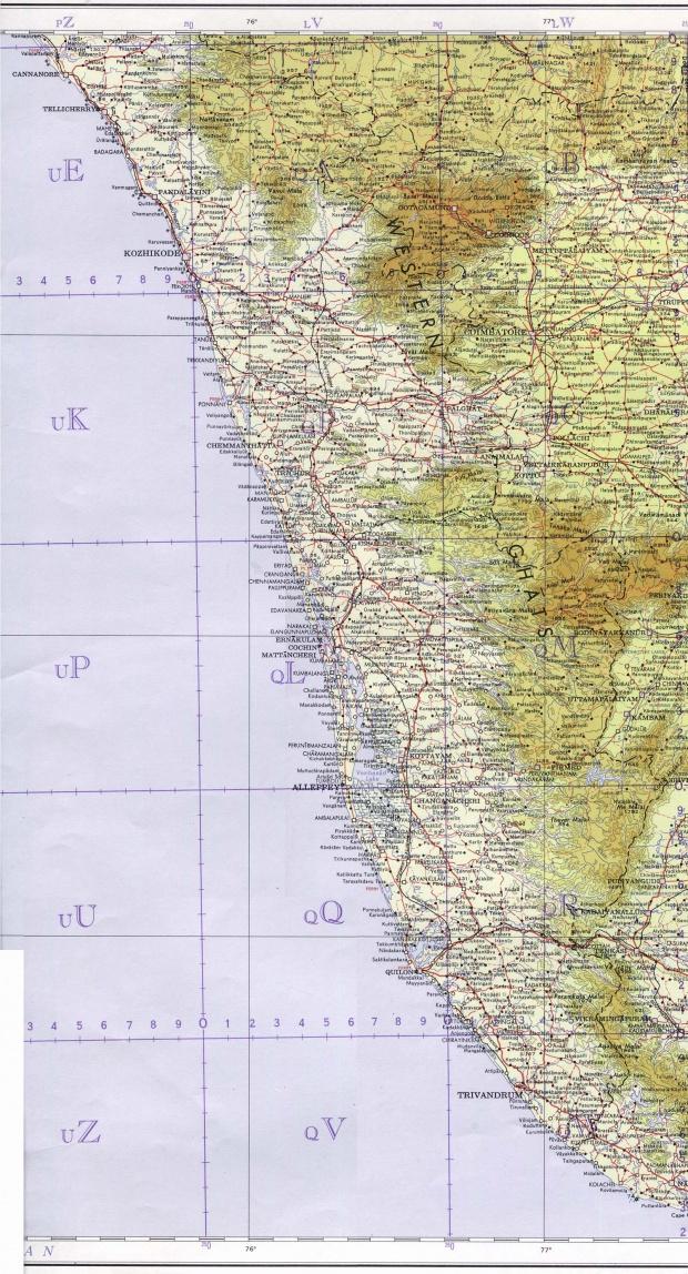 Mapa Topográfico del Estado de Kerala, India 1965