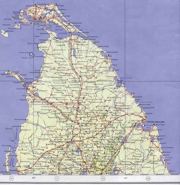 Mapa Topográfico del Norte de Sri Lanka 1959
