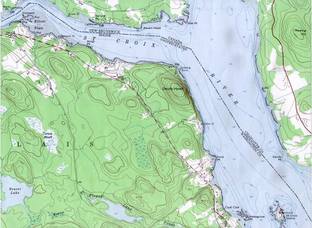 Mapa Topográfico del Río St. Croix Desde Mark Point Lighthouse Hacia St. Croix Island