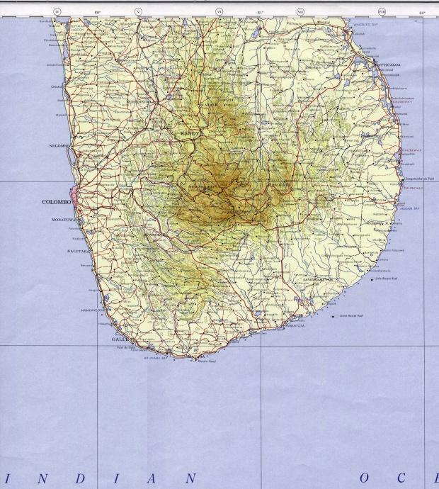 Mapa Topográfico del Sur de Sri Lanka 1964