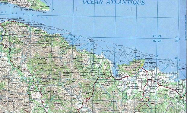Mapa Topográfico del Área de Cap-Haïtien, Haití
