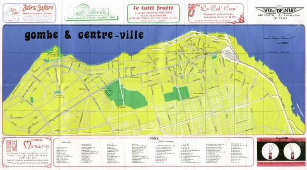 Mapa Turístico de Gombe y Centro de la Ciudad, Kinshasa, República Democrática del Congo (Zaire)