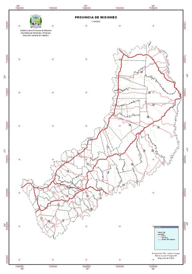 Mapa Vial, Provincia Misiones, Argentina