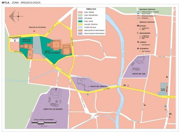 Mapa Zona Arqueológica de Mitla, Oaxaca, Mexico