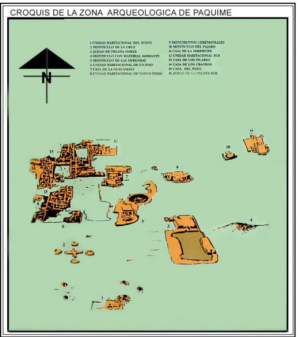 Mapa Zona Arqueológica de Paquimé, Chihuahua, Mexico