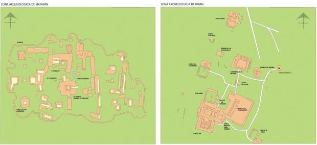 Mapa Zonas Arqueológicas de Mayapán y Uxmal, Yucatán, Mexico