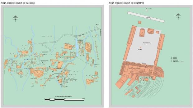 Mapa Zonas Arqueológicas de Palenque y Bonampak, Chiapas, Mexico