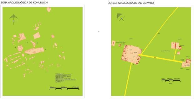 Mapa Zonas arqueológicas de Kohunlich y San Gervasio, Quintana Roo, Mexico