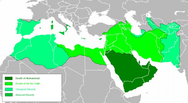 Mapa cronológico del Imperio Árabe 632-945