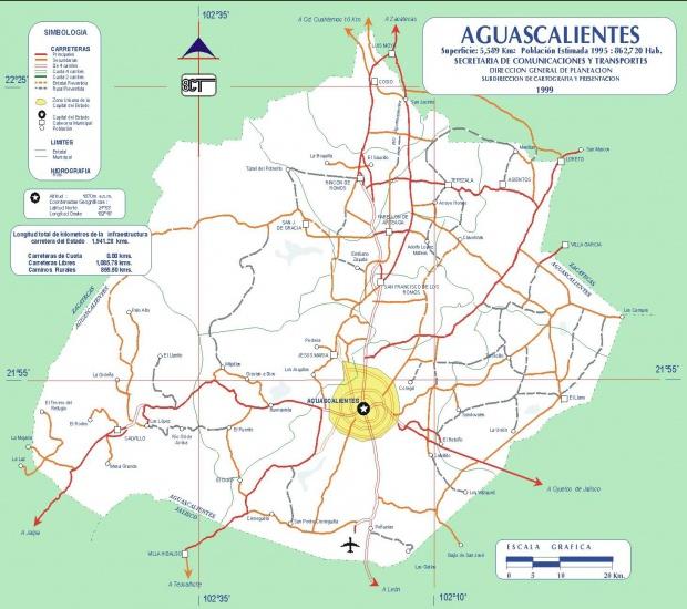 Mapa de Aguascalientes (Estado), Mexico