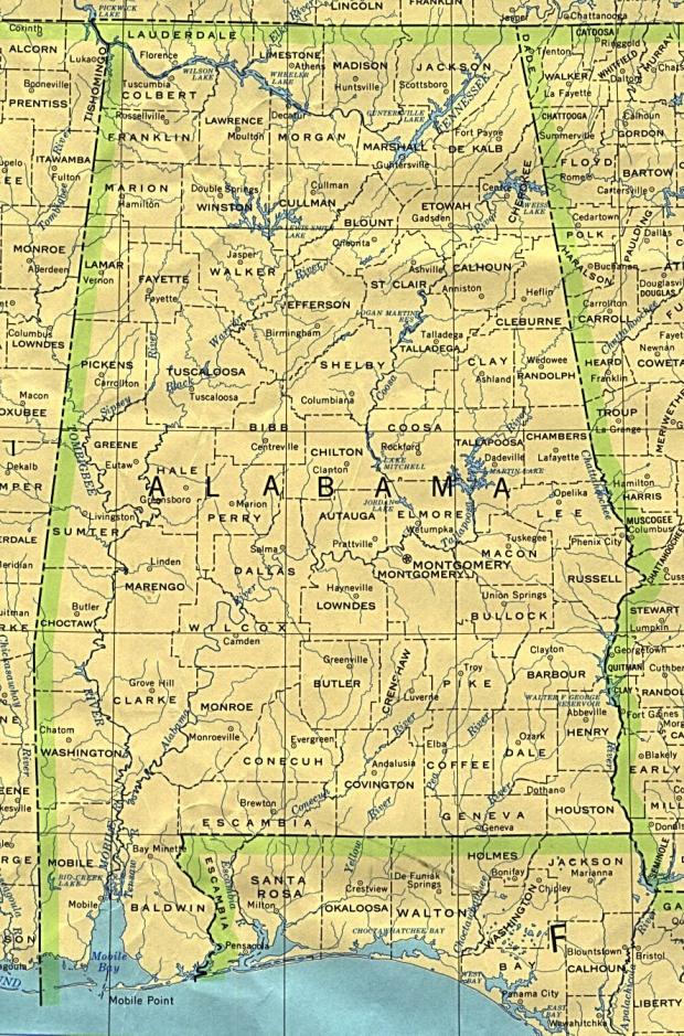 Mapa de Alabama, Estados Unidos