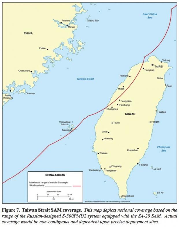 Mapa de Alcance de los Misiles SAM Chino en el Estrecho de Taiwán