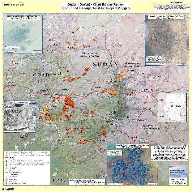Mapa de Aldeas Dañadas o Destruidas, Darfur, Sudán, Junio 21, 2004