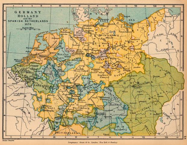 Mapa de Alemania, Holanda y de los Países Bajos Españoles en 1678
