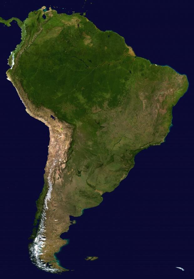 Mapa de América del Sur (satelital)