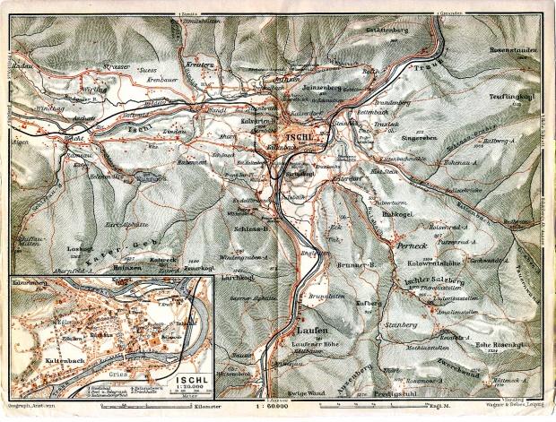 Mapa de Bad Ischl, Austria 1911