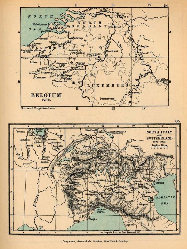 Mapa de Bélgica y Norte de Italia  en 1792, Ilustrando las Campañas de Napoleón