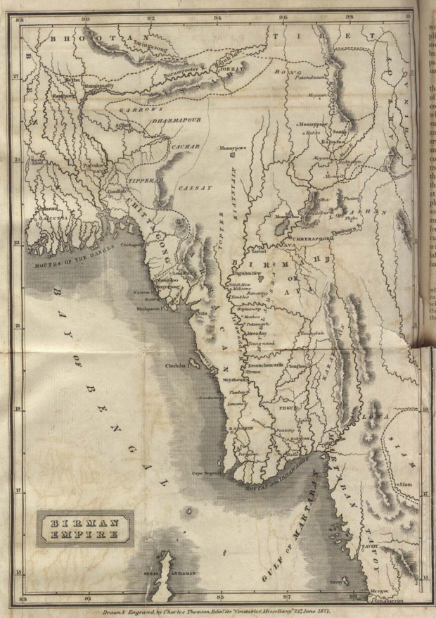 Mapa de Birmania (Myanmar) 1827