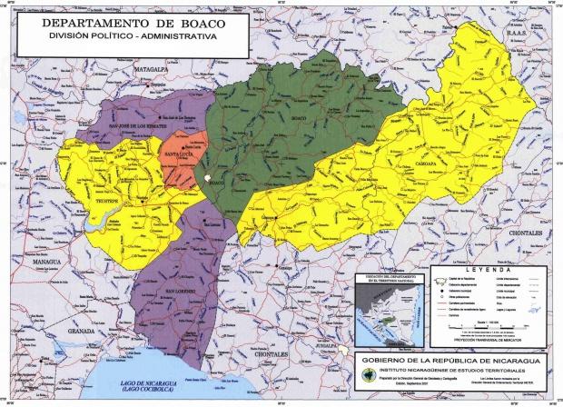 Mapa de Boaco, División Político-Administrativa del Departamento, Nicaragua