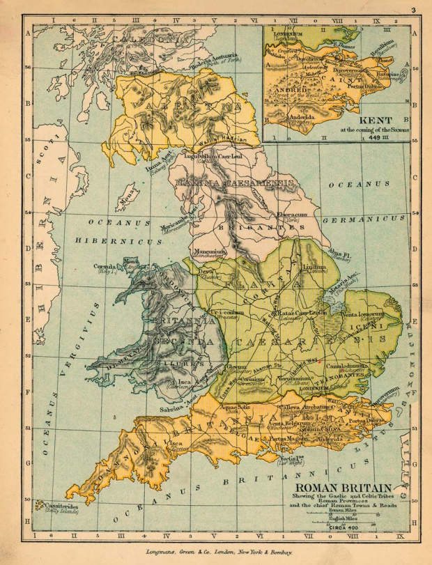 Mapa de Britania (Provincia Romana) Circa 400