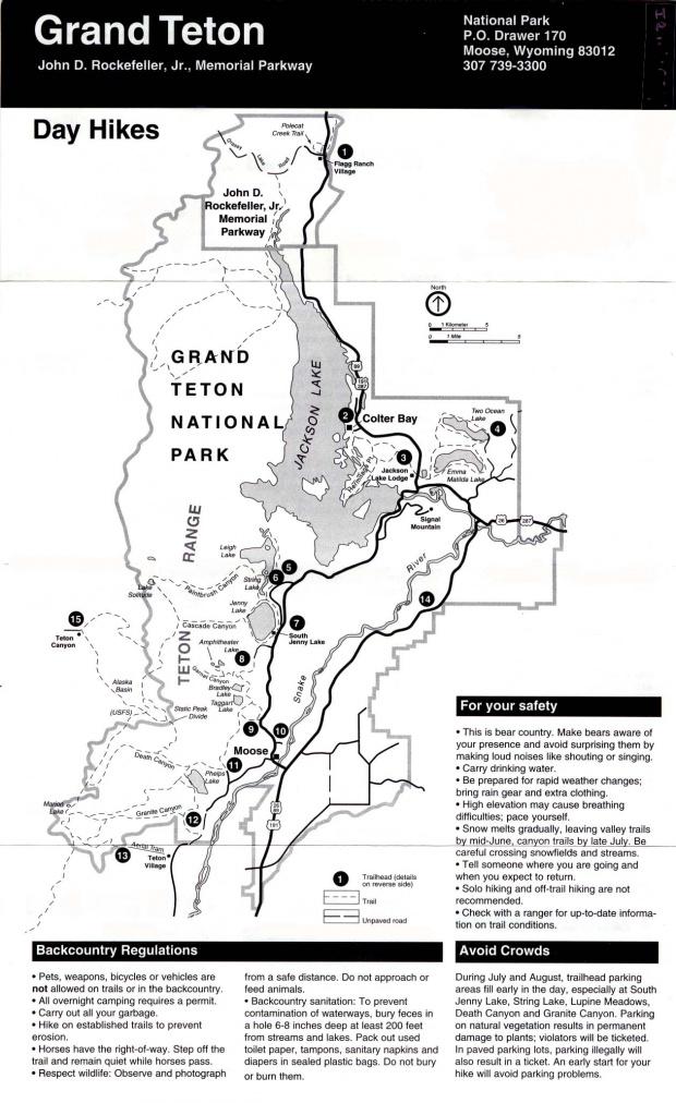 Mapa de Caminatas, Parque Nacional Grand Teton, Wisconsin, Estados Unidos