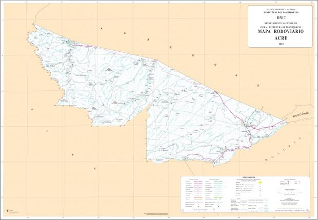 Mapa de Carreteras Federales y Estatales del Edo. de Acre, Brasil