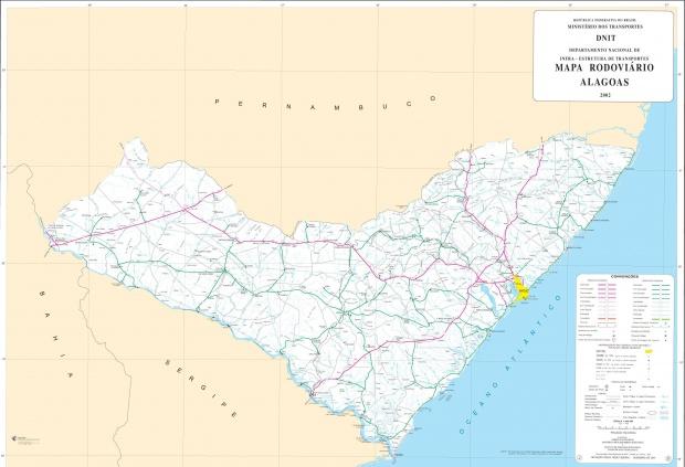 Mapa de Carreteras Federales y Estatales del Edo. de Alagoas, Brasil