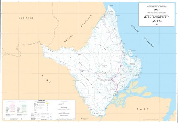 Mapa de Carreteras Federales y Estatales del Edo. de Amapá, Brasil