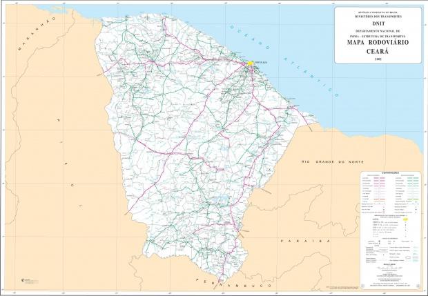 Mapa de Carreteras Federales y Estatales del Edo. de Ceará, Brasil