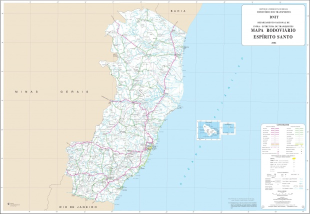 Mapa de Carreteras Federales y Estatales del Edo. de Espírito Santo, Brasil