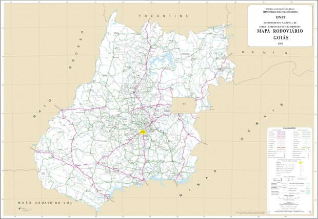 Mapa de Carreteras Federales y Estatales del Edo. de Goiás, Brasil