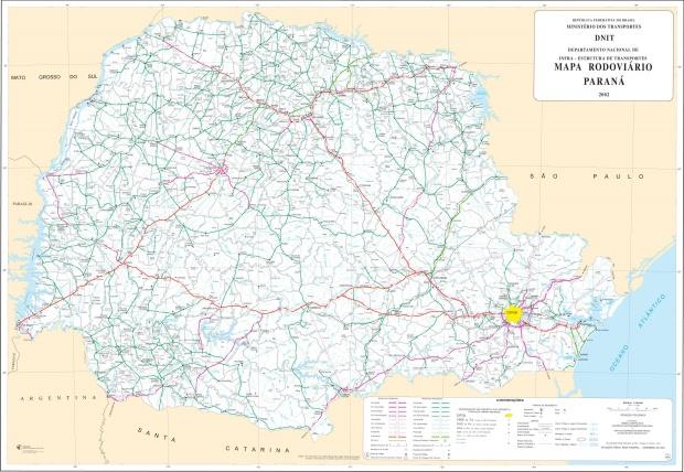 Mapa de Carreteras Federales y Estatales del Edo. de Paraná, Brasil