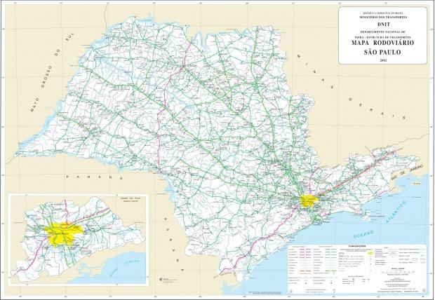 Mapa de Carreteras Federales y Estatales del Edo. de São Paulo, Brasil