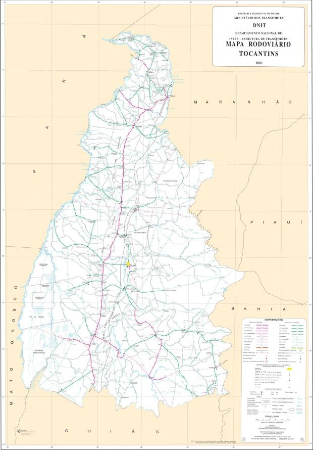 Mapa de Carreteras Federales y Estatales del Edo. de Tocantins, Brasil