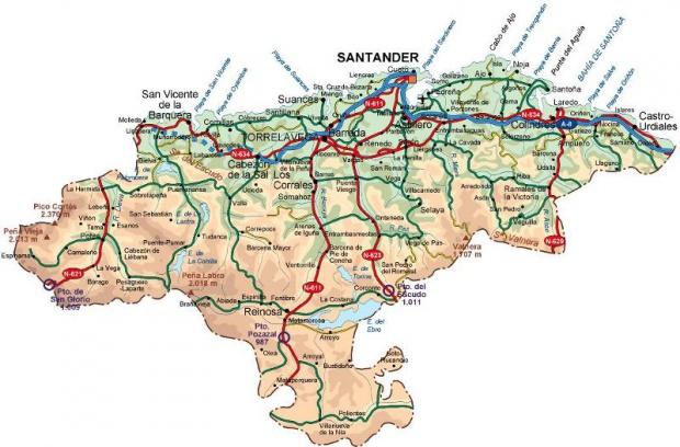 Mapas Politico De Cantabria