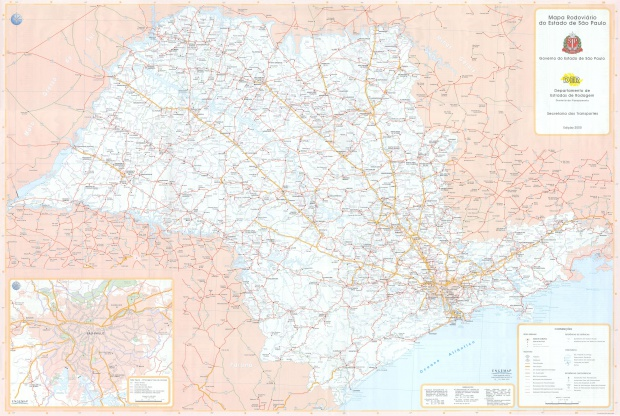 Mapa de Carreteras del Estado de São Paulo, Brasil